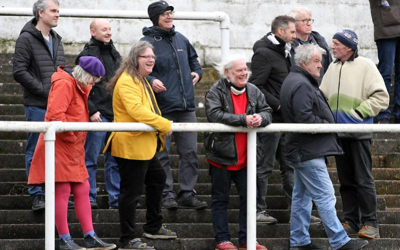 Group of elderly football fans